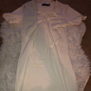Boohoo white ribbed dress